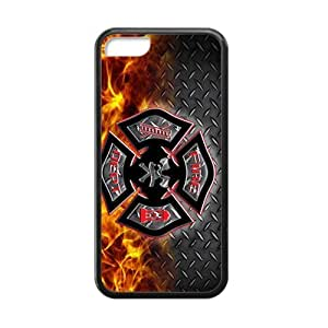 Hoomin Fashion Firefighters Black Fire Pattern iPhone 5C Cell Phone Cases Cover Popular Gifts(Laster Technology)