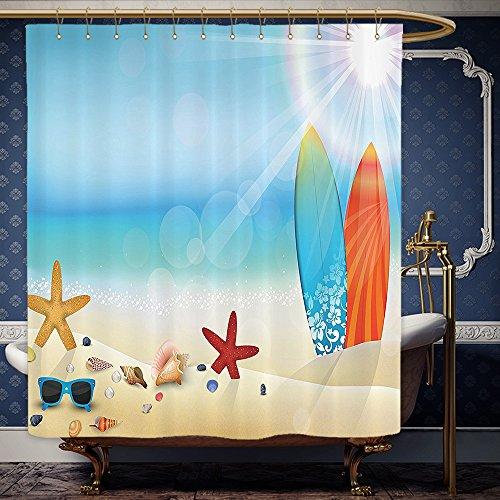 Wanranhome Custom-made shower curtain Seashells Decor Set Holiday Theme Sunglasses On The Sand Beach Summer Surfboard Daytime Sunny Starfish Seashells For Bathroom Decoration 60 x 72 - Reviews Sunset Sunglasses