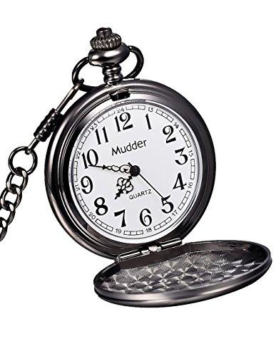 Mudder Classic Smooth Vintage Black Steel Mens Pocket Watch (Costume Pocket Watch)
