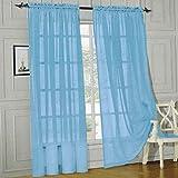 "Elegant Comfort® 2 Piece Solid Sheer 60"" x 84"" Window Curtains/drape/panels/treatment, Light Blue"
