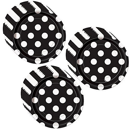 Unique Black Polka Dot Party Cake/Dessert Plates - 24 Guests -