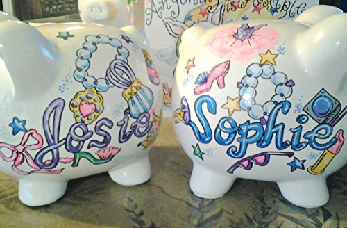 Hand Painted Personalized Dress Up Girls Piggy Bank by Stymiepie Studios