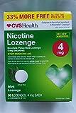 CVS Health Nicotine Lozenge, Stop Smoking Aid, 96 Mint Lozenges (4 mg Nicotine Each)