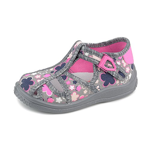 Zetpol Tosia 2441 Floral Grey Pink Metal Cam Lock Buckle Toddler Girls' Canvas Sandal, 25 M EU/9 M US Toddler Canvas Lined Sandals