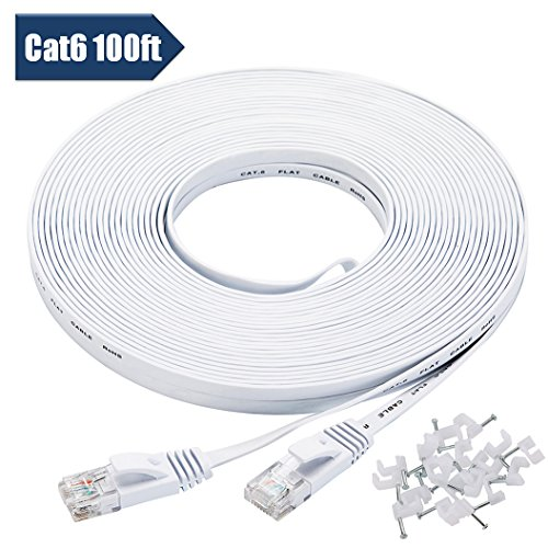 100' Computer - Cat 6 Ethernet Cable 100 ft White with Cable Clips - Flat Internet Network Cable - Slim Long Computer Cable - With Snagless Rj45 Connectors – 100 feet White (30 Meters)
