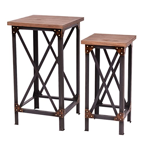Giantex Set of 2 End Table Set Side Table Coffee Night Stand Accent Hallway Display ()