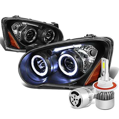 Impreza GD GG Angel Eyes Black Housing Amber Corner Dual Halo Projector Headlight + H3 LED Conversion Kit W/ Fan