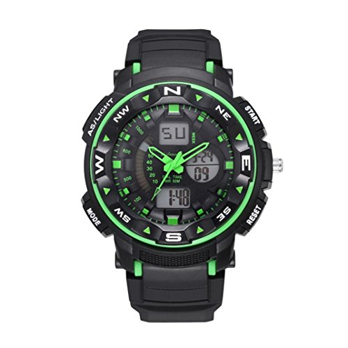 Price comparison product image LtrottedJ Men's Digital Quartz Sport Watches Mountaineering Waterproof Electronic Watches (Green)