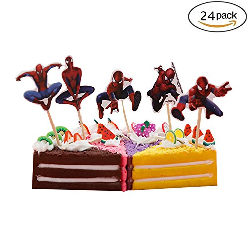 Cupcake Toppers Birthday Party Supplies,Cake Decoration Baby Showerfor for Kids Birthday Party-Spider-Man Set of 24 -
