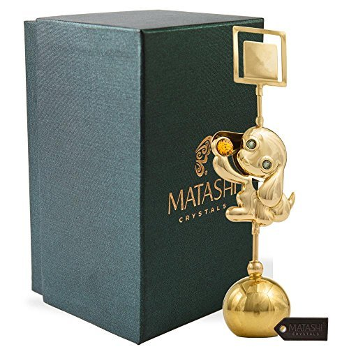Matashi Gold Plated Dog Figurine Card Holder for Living Room Bedroom Home Decor Shelf Desktop Tabletop with a Luxury Gift Box, Year of The Dog| Gifting Ideas for New Years