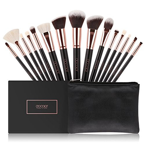 Docolor Makeup Brushes 15 Piece Makeup Brushes Set Premium Synthetic Goat Hairs Kabuki Brushes Foundation Blending Blush Face Eyeliner Shadow Brow Concealer Lip Cosmetic Brushes Kit with Cosmetic Bag