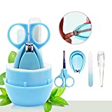 Baby Nail Clip Kit,Doshop 4 In1 Safety Baby Nail Clippers Set Includes Nail Clipper, Safety Scissor, Nasal Tweezers and Nail File for Newborn, Baby, Infant, Toddler and Kids, Pink (Blue)
