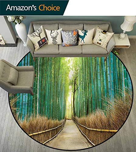 RUGSMAT Bamboo Forest Non Slip Round Rugs,Nature Park in Japan Perfect for Any Room, Floor Carpet Round-35