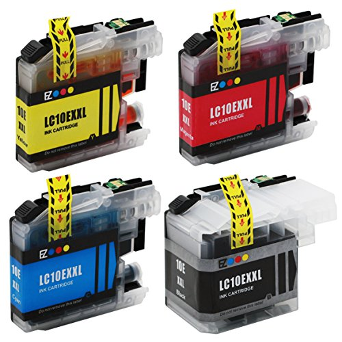 E-Z Ink (TM) Compatible Ink Cartridge Replacement for Brother LC10E LC-10E Super High Yield XXL (1 Black, 1 Cyan, 1 Magenta, 1 Yellow) 4 Pack LC10EBK LC10EC LC10EM LC10EY Compatible with MFC-J6925DW