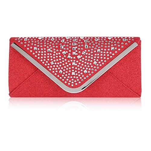 Bag Womens Damara Wedding Triangle Envelope Rhinestone Red Flap 1f14qwT