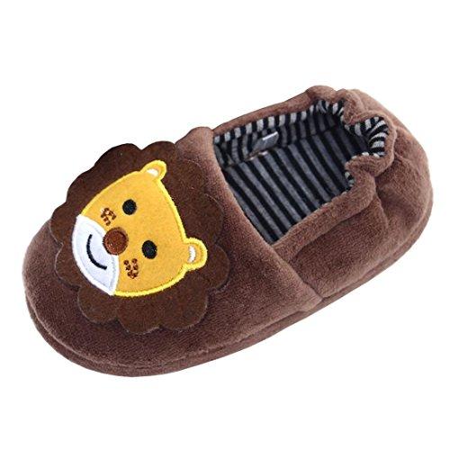 Cartoon House - Beeliss Boys Slippers Cartoon House Shoes (7-8 M US Toddler, Brown)