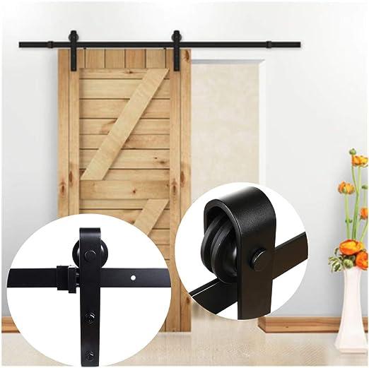 skiesoar Kit de rail puerta corredera, 6 ft/6,6ft Ferretería Rail Gran Rueda Negro de techo para puerta deslizante Hardware de madera garange armario armario industrial Dividir: Amazon.es: Bricolaje y herramientas
