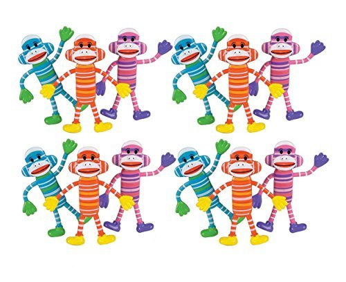 Bendable Sock Monkey 12-Pack (assorted colors) (Monkey Sock Toy)