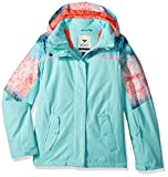 Roxy Big Girls' Jetty Block Snow Jacket, Neon Grapefruit_Solargradient, 8/Small