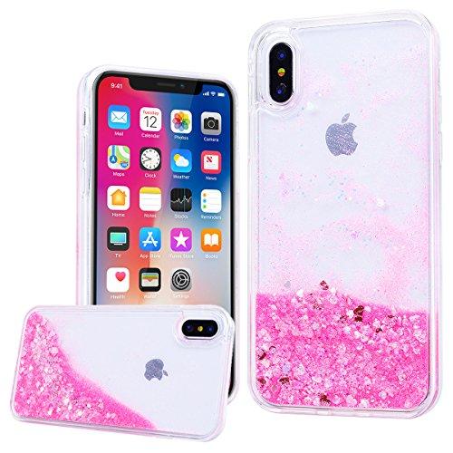 WE LOVE CASE iPhone X Hülle Glitzern Transparent Flüssig Quicksand Diamant Liquid Liebe Sterne iPhone X / 10 Hülle Hardcase und Silikon Weich CaseRosa Handyhülle Tasche für Mädchen Elegant Backcover ,