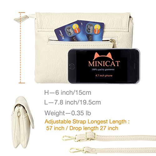 Purse Small Small Roomy Cell Wallet Women rfid Blocking Pockets For Series Beige Crossbody Phone Size Bag MINICAT B8pqOxq