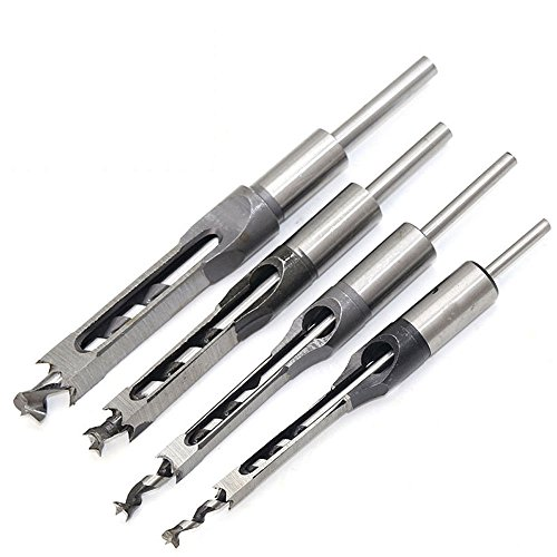 OSOF 4Pcs Wood Drill Bit Set, Woodworker Square Hole Drill Bits Wood Mortising Chisel Set, Woodworking Hole Saw Mortise Chisel Bit Kit Set with Twist Drill DIY Mortising Chisel Power Tools