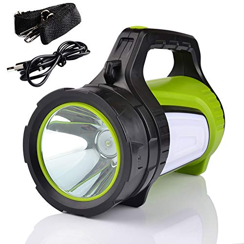 Smiling Shark Super Bright Rechargeable LED Lantern Flashlight, 10 Modes Multifunction Portable LED Searchlight & Spotlight Torch, USB Charging Cord, Shoulder Strap Included