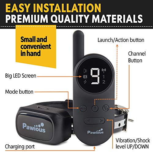 Pawious Dog Training Collar [Newest 2019] - Rechargeable Remote Dog Shock Collar Small Medium Large Dogs - Long Range, Waterproof, Large LED Screen, Beep, Vibration, Shock E-Collar by Pawious (Image #1)