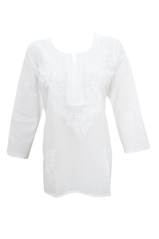 Mogul Interior Women's Blouse Cotton White Lucknowi Chikankari Boho Tunic XXl
