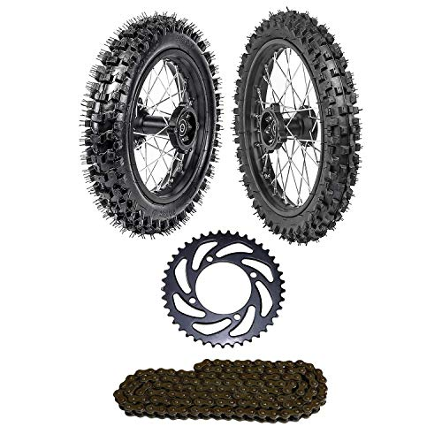 WPHMOTO Front Tire 60/100-14 & Rear Tire 80/100-12 Disc Brake Wheel Rim With 12mm Bearing & 420 O-Ring Chain & Chain Sprocket for Pit Dirt Bike