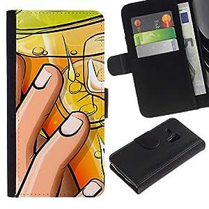 KLONGSHOP / Tirón de la caja Cartera de cuero con ranuras para tarjetas - Cocktail Hand Lemon Nails Art Drawing Party - Samsung Galaxy S3 MINI NOT REGULAR! I8190 I8190N