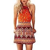 Women Summer Halter Dress Boho Floral Print High Waist Sleeveless Casual Mini Dress Beach Dress by Lowprofile Orange