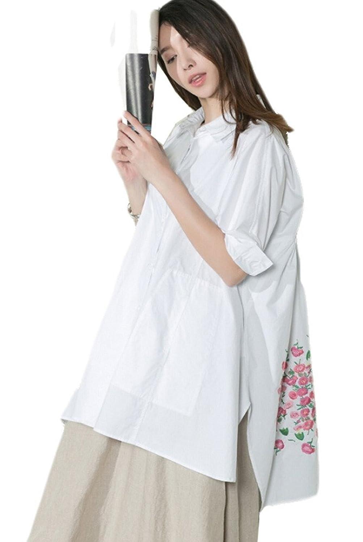 Vogstyle Damen Zurück Blume Gedruckt Shirt plus Größ Bluse