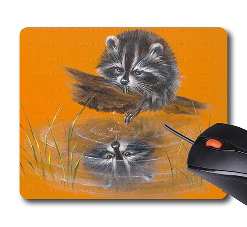 AOFFLY Peggy Harris - Reflective Racoon Orange Inverted Image Coon Helpless- 35A - Non-Slip Rubber Mousepad Gaming Mouse - Racoon Image