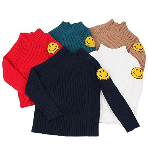 Maylife Little Girls Kids Baby Toddler Turtleneck Smile Fine Knit Sweatshirt Pullover by Maylife (Image #2)