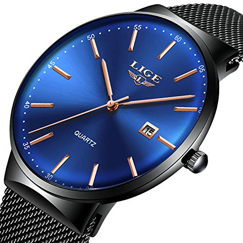 (LIGE Mens Watches Waterproof Ultra-Thin Stainless Steel Watch Casual Fashion Analog Quartz Watch Black Blue Mesh Band Wrist Watches)