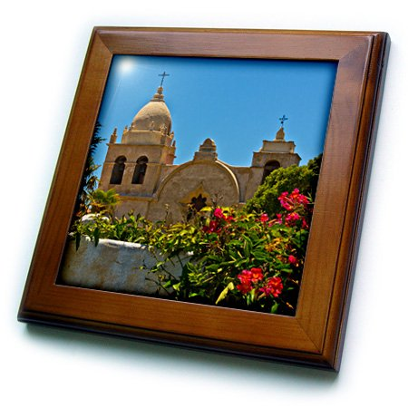 "3D Rose Mission-Carmel-California-USA Framed Tile 8"" x 8"""