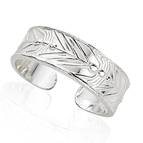 925 Sterling Silver Leaf Pattern Toe Ring, 6mm