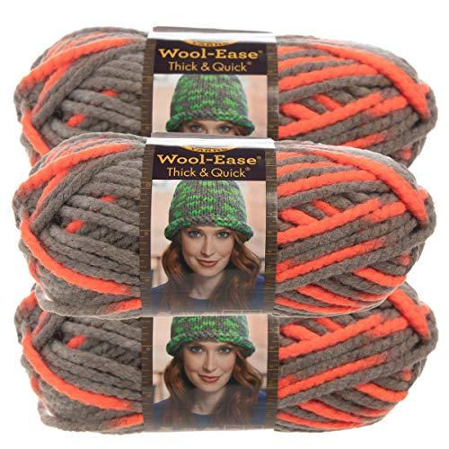 (Lion Brand Yarn (3 Pack Wool Ease Super Chunky Yarn for Knitting Crocheting Soft Monarch Orange Gray Yarn Bulky #6)