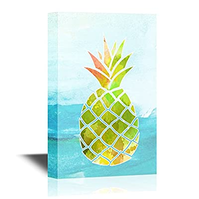 Canvas Wall Art - Watercolor Style Pineapple on Abstract Sea Background - Giclee Print Gallery Wrap Modern Home Art | Ready to Hang - 12x18 inches