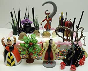 Disney Villains 23 Piece Birthday Cake Topper Set Featuring Little Mermaid's Ursula, Peter Pan's Captain Hook, Alice in Wonderland's Queen of Hearts, Snow White Wicked Witch, Sleeping Beauty's Maleficent, and Dalmatians Cruella Devil with Decorative Themed Villains Pieces