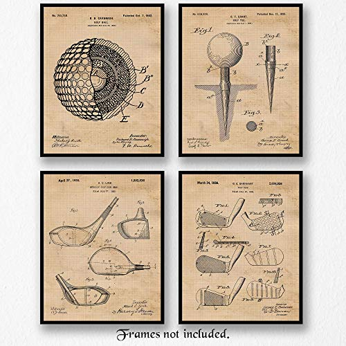 - Original Golf Patent Art Poster Prints- Set of 4 (Four 8x10) Unframed Vintage Style Photo- Great Wall Art Decor Gifts Under $20 for Home, Office, Shop, Garage, Man Cave, Student, Teacher, Coach, Fan