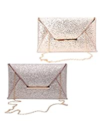 Persx Women Envelope Clutch Bag Glitter Sequins Handbag Evening Party Wallet Purse
