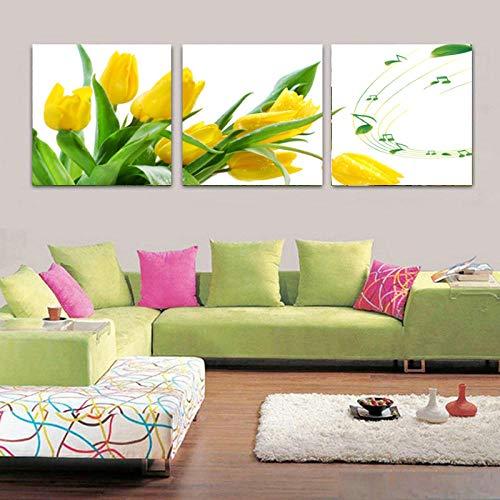 3 piezas lienzo pintura flores pinturas modernas baratas lienzo pinturas al oleo tulipan amarillo pared arte Cuadros decoracion salon-50 50cm -Sin marco