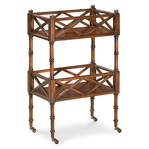 Accent Furniture - Chinese Chippendale Inspired Rolling Serving Cart - Mobile Bar (Chippendale Bar)