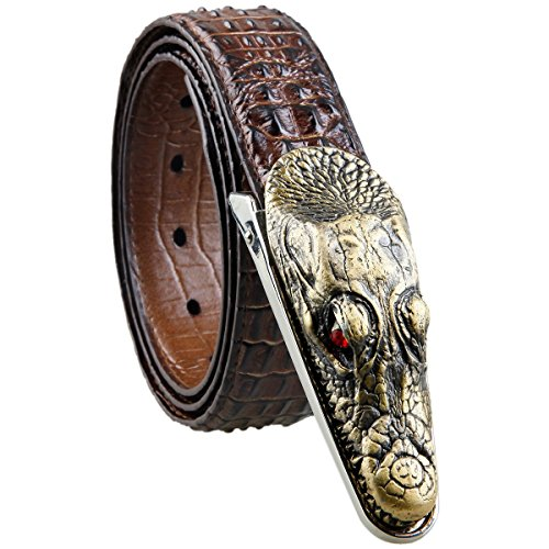 [Samtree Mens Adjustable Leather Belt Embossed Alligator Plaque Buckle(02-Coffee)] (Leather Plaque Buckle Belt)