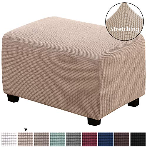 H.VERSAILTEX Oversized Ottoman Slipcover Jacquard Polyester Stretch Fabric Rectangle Folding Storage Stool Ottoman Cover Furniture Protector for Living Room (Oversize, Sand) (Fabric Ottomans)