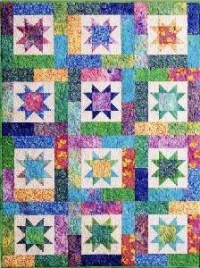 Amazon.com: Atkinson Lucky Stars Quilt Pattern FQ Quilt: Home ... : stars quilt - Adamdwight.com