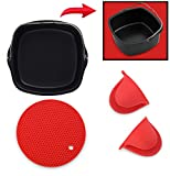 Air Fryer Non-Stick Baking Pan Fits Philips Airfryer, GoWise USA, Power Airfryer, Cozyna, Avalon Bay & Premium Silicone Mini Oven Mitts & Silicone Trivet-Air Fryer Accessories-Set of 3 (Red)