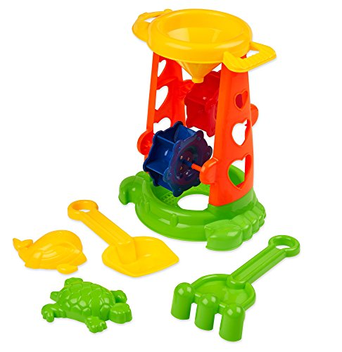 Double Sand Wheel Beach Toy Set for Kids, Loads of fun for your Children while Playing with Sand, At the Beach, or Even to Play in the Bathtub, Shovel, Rack and Shape Molds Included(5 Pc (Covered Sandbox Kit)